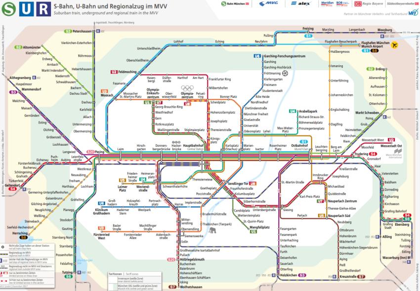 Карта метро Мюнхена на русском языке