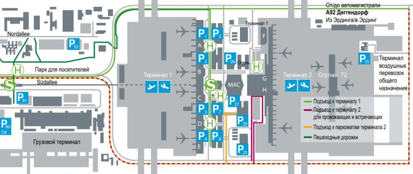 аэропорт Мюнхен план