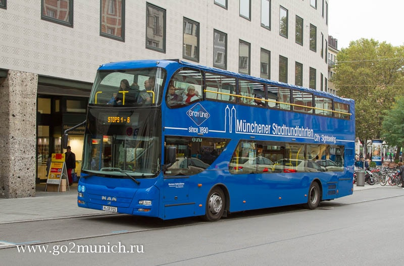 Синий автобус hop on hop off Мюнхен