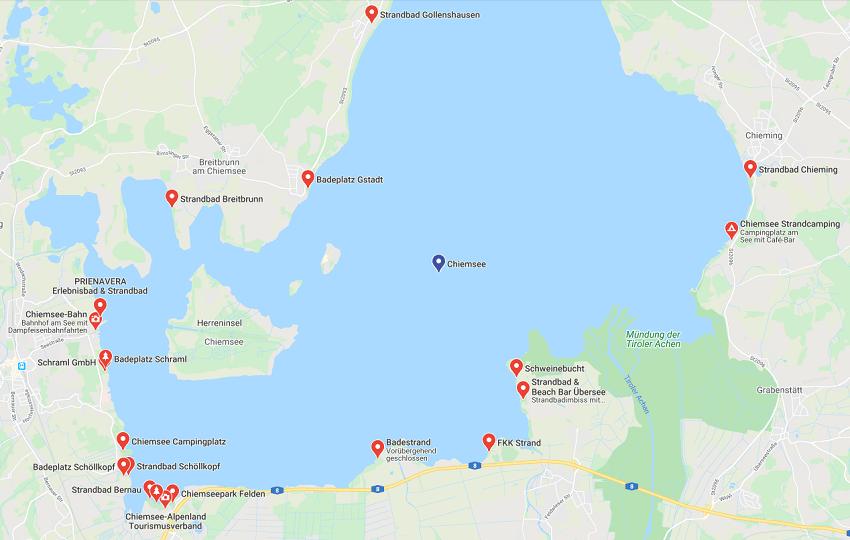 Кимзее пляжи карта