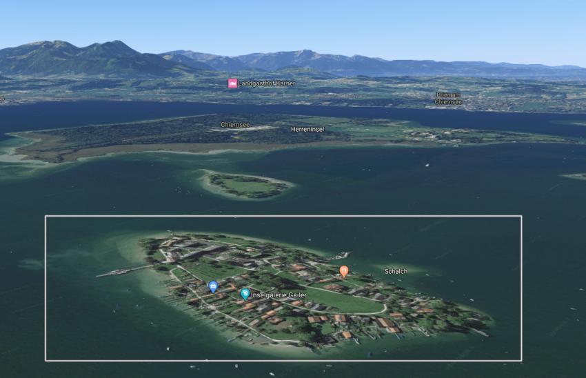Женский остров Фрауенинзель озеро Кимзее